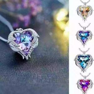 Angel Wings Love Heart Necklace 💜💙💛💚